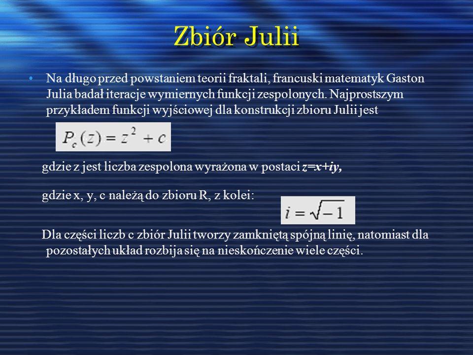 Zbiór Julii Na długo przed powstaniem teorii fraktali, francuski matematyk Gaston Julia badał iteracje wymiernych funkcji zespolonych. Najprostszym pr
