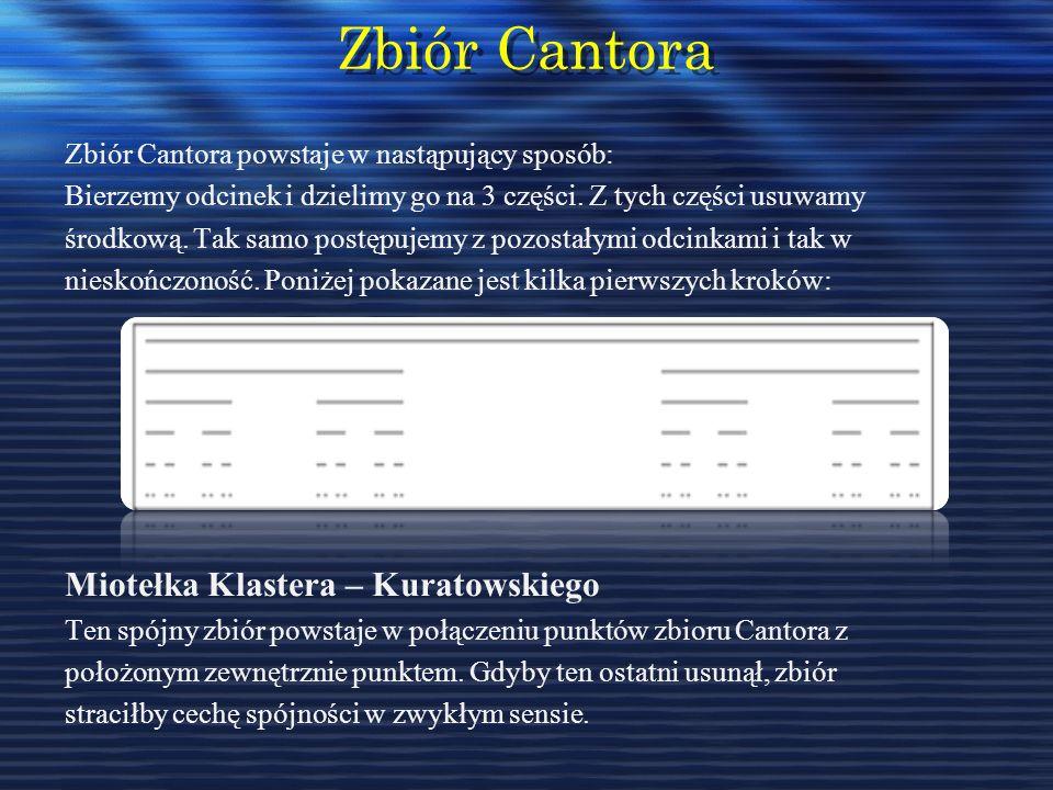 Zbiór Cantora Zbiór Cantora Zbiór Cantora powstaje w nastąpujący sposób: Bierzemy odcinek i dzielimy go na 3 części. Z tych części usuwamy środkową. T