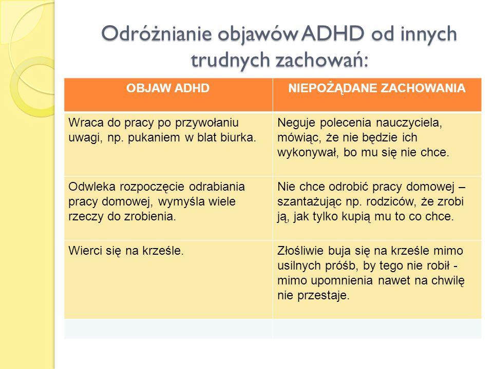 Odróżnianie objawów ADHD od innych trudnych zachowań: OBJAW ADHDNIEPOŻĄDANE ZACHOWANIA Wraca do pracy po przywołaniu uwagi, np. pukaniem w blat biurka
