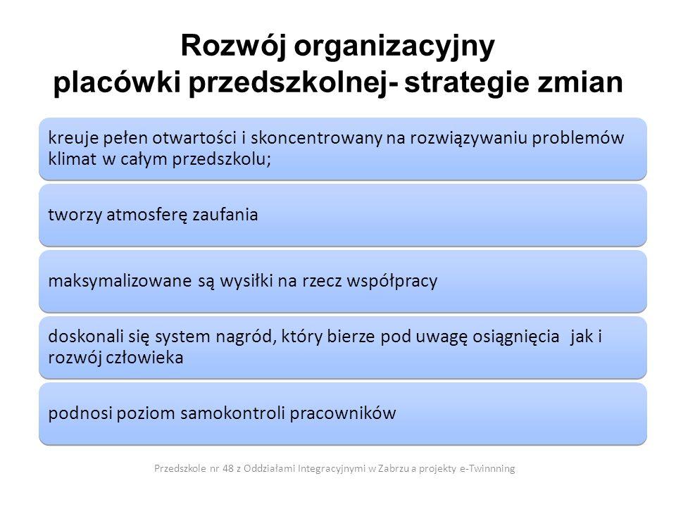 Rozwój organizacyjny placówki przedszkolnej- strategie zmian Przedszkole nr 48 z Oddziałami Integracyjnymi w Zabrzu a projekty e-Twinnning kreuje pełe