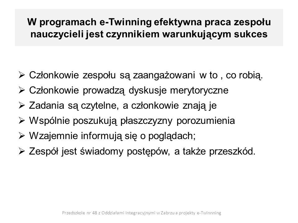 W programach e-Twinning efektywna praca zespołu nauczycieli jest czynnikiem warunkującym sukces Członkowie zespołu są zaangażowani w to, co robią. Czł