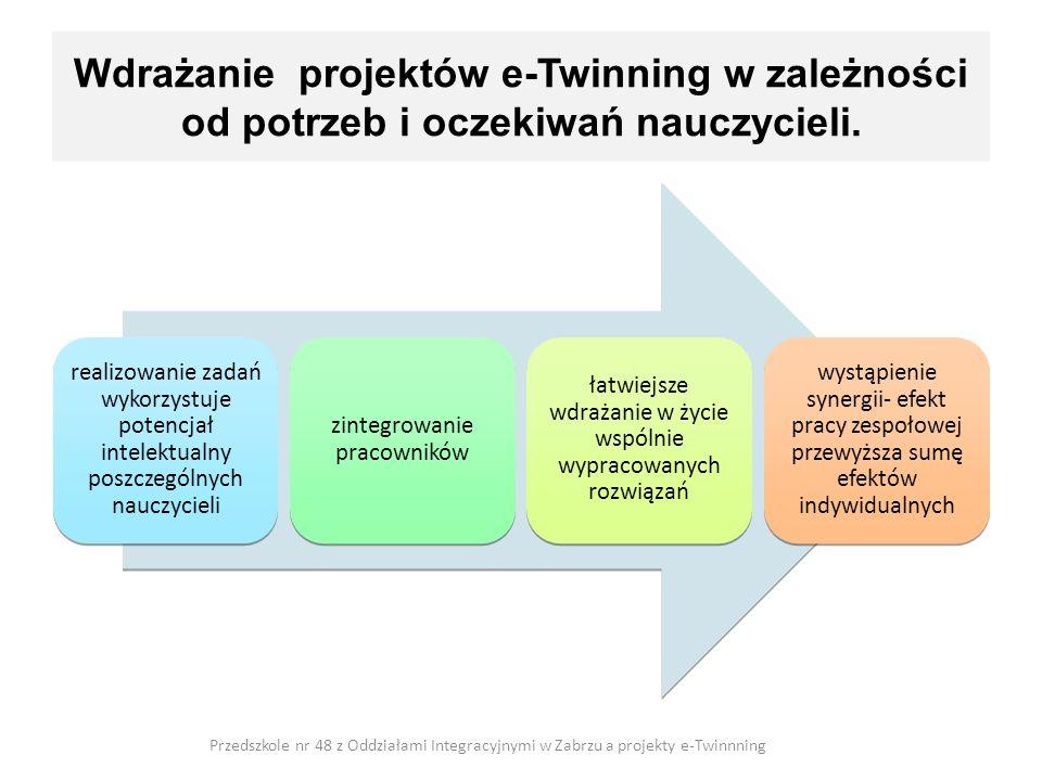 Wdrażanie projektów e-Twinning w zależności od potrzeb i oczekiwań nauczycieli. realizowanie zadań wykorzystuje potencjał intelektualny poszczególnych
