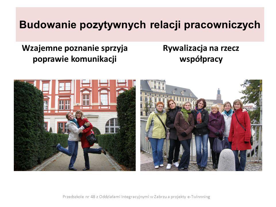 Budowanie pozytywnych relacji pracowniczych Wzajemne poznanie sprzyja poprawie komunikacji Rywalizacja na rzecz współpracy Przedszkole nr 48 z Oddział