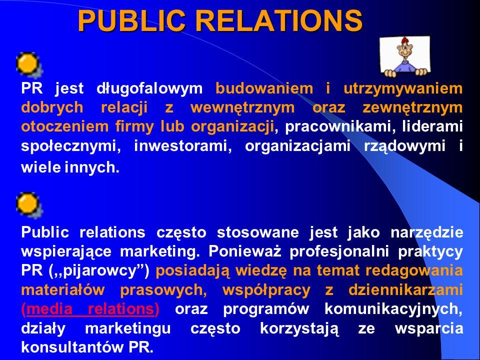PUBLIC RELATIONS PR jest długofalowym budowaniem i utrzymywaniem dobrych relacji z wewnętrznym oraz zewnętrznym otoczeniem firmy lub organizacji, pracownikami, liderami społecznymi, inwestorami, organizacjami rządowymi i wiele innych.