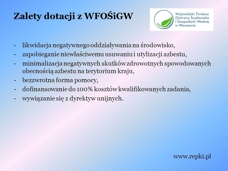 Zalety dotacji z WFOŚiGW -likwidacja negatywnego oddziaływania na środowisko, -zapobieganie niewłaściwemu usuwaniu i utylizacji azbestu, -minimalizacja negatywnych skutków zdrowotnych spowodowanych obecnością azbestu na terytorium kraju, -bezzwrotna forma pomocy, -dofinansowanie do 100% kosztów kwalifikowanych zadania, -wywiązanie się z dyrektyw unijnych.