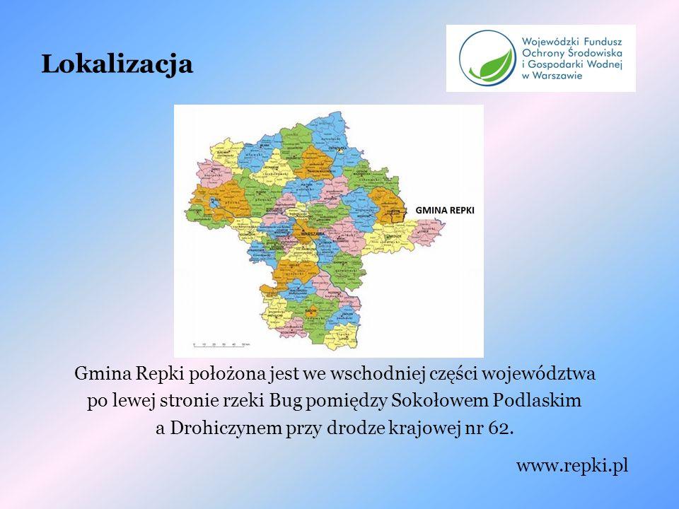 Lokalizacja Gmina Repki położona jest we wschodniej części województwa po lewej stronie rzeki Bug pomiędzy Sokołowem Podlaskim a Drohiczynem przy drodze krajowej nr 62.