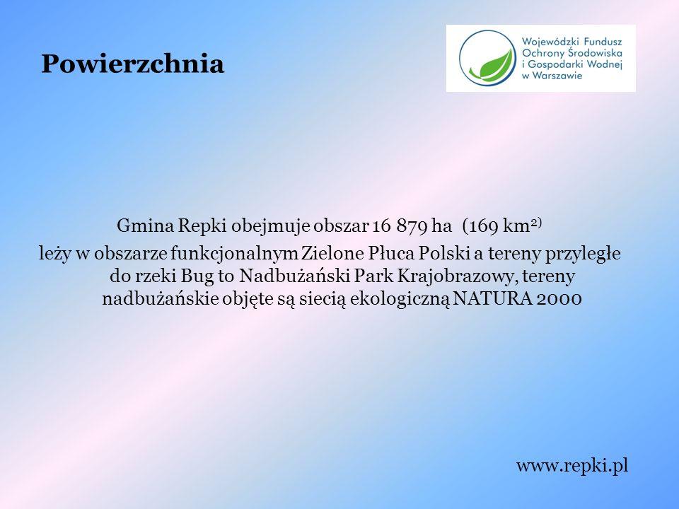 Powierzchnia Gmina Repki obejmuje obszar 16 879 ha (169 km 2) leży w obszarze funkcjonalnym Zielone Płuca Polski a tereny przyległe do rzeki Bug to Nadbużański Park Krajobrazowy, tereny nadbużańskie objęte są siecią ekologiczną NATURA 2000 www.repki.pl