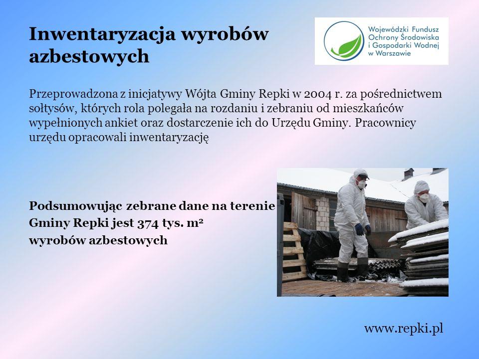 Inwentaryzacja wyrobów azbestowych Przeprowadzona z inicjatywy Wójta Gminy Repki w 2004 r.