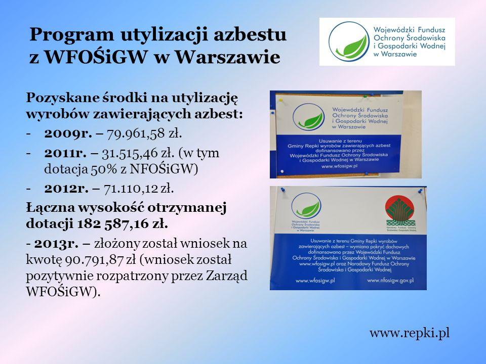 Program utylizacji azbestu z WFOŚiGW w Warszawie Pozyskane środki na utylizację wyrobów zawierających azbest: -2009r.