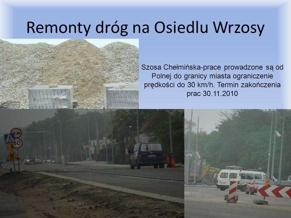 Remonty dróg na Osiedlu Wrzosy Szosa Chełmińska-prace prowadzone są od Polnej do granicy miasta ograniczenie prędkości do 30 km/h. Termin zakończenia