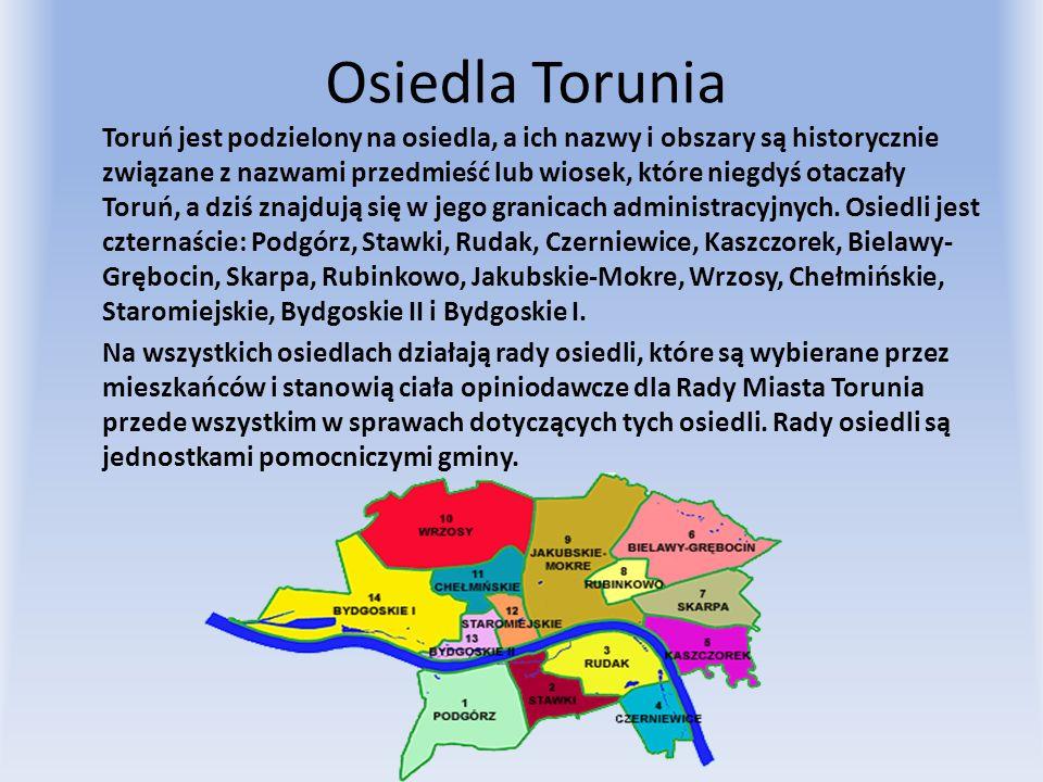 Osiedla Torunia Toruń jest podzielony na osiedla, a ich nazwy i obszary są historycznie związane z nazwami przedmieść lub wiosek, które niegdyś otacza