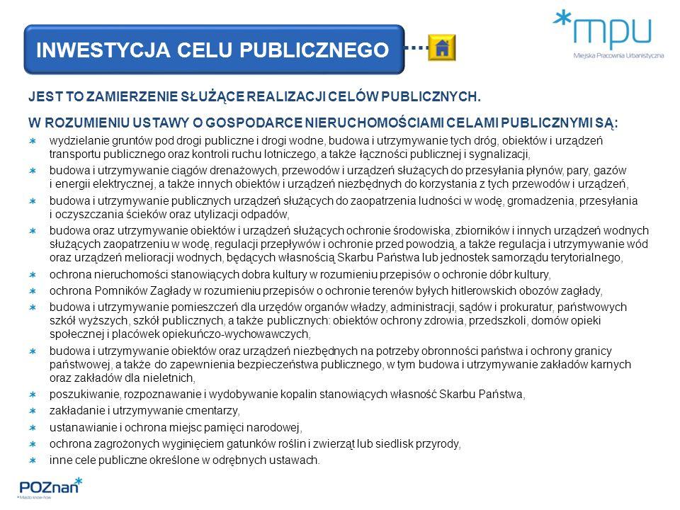 INWESTYCJA CELU PUBLICZNEGO JEST TO ZAMIERZENIE SŁUŻĄCE REALIZACJI CELÓW PUBLICZNYCH.