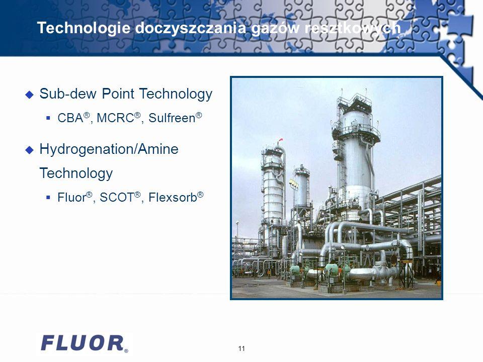 11 Technologie doczyszczania gazów resztkowych u Sub-dew Point Technology CBA ®, MCRC ®, Sulfreen ® u Hydrogenation/Amine Technology Fluor ®, SCOT ®, Flexsorb ®