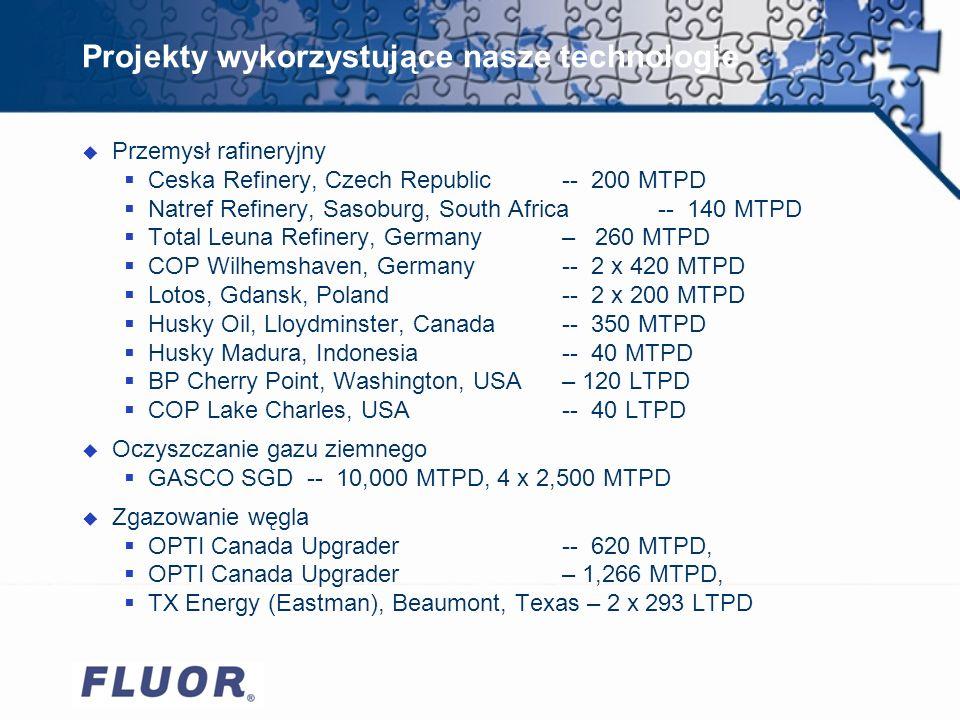Projekty wykorzystujące nasze technologie u Przemysł rafineryjny Ceska Refinery, Czech Republic -- 200 MTPD Natref Refinery, Sasoburg, South Africa -- 140 MTPD Total Leuna Refinery, Germany – 260 MTPD COP Wilhemshaven, Germany -- 2 x 420 MTPD Lotos, Gdansk, Poland -- 2 x 200 MTPD Husky Oil, Lloydminster, Canada -- 350 MTPD Husky Madura, Indonesia -- 40 MTPD BP Cherry Point, Washington, USA – 120 LTPD COP Lake Charles, USA -- 40 LTPD u Oczyszczanie gazu ziemnego GASCO SGD -- 10,000 MTPD, 4 x 2,500 MTPD u Zgazowanie węgla OPTI Canada Upgrader -- 620 MTPD, OPTI Canada Upgrader – 1,266 MTPD, TX Energy (Eastman), Beaumont, Texas – 2 x 293 LTPD