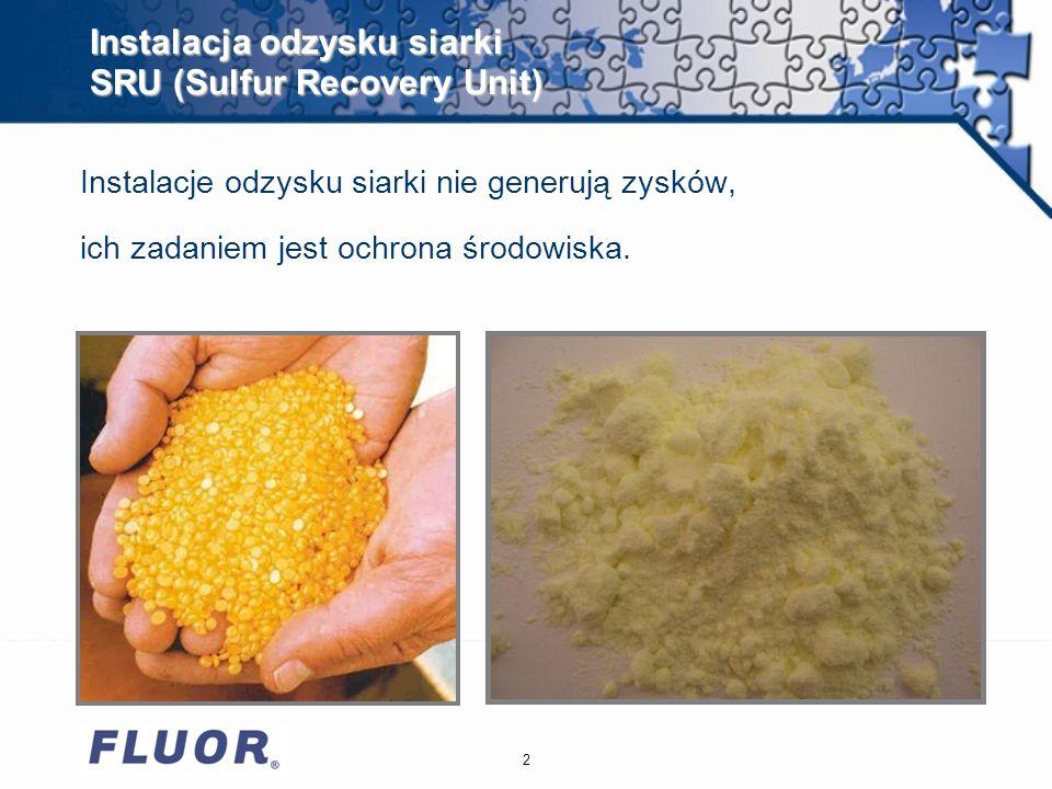 2 Instalacja odzysku siarki SRU (Sulfur Recovery Unit) Instalacje odzysku siarki nie generują zysków, ich zadaniem jest ochrona środowiska.