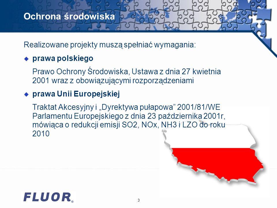Ochrona środowiska 3 Realizowane projekty muszą spełniać wymagania: u prawa polskiego Prawo Ochrony Środowiska, Ustawa z dnia 27 kwietnia 2001 wraz z obowiązującymi rozporządzeniami u prawa Unii Europejskiej Traktat Akcesyjny i Dyrektywa pułapowa 2001/81/WE Parlamentu Europejskiego z dnia 23 października 2001r, mówiąca o redukcji emisji SO2, NOx, NH3 i LZO do roku 2010