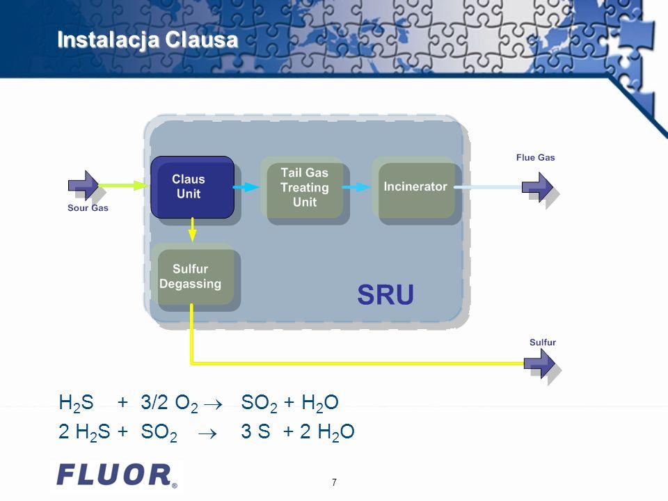 8 Rozwiązania firmy FLUOR Sposoby zwiększenia wydajności instalacji odzysku siarki u Budowa nowych instalacji SRU/TGTU u Modernizacja istniejących instalacji z wykorzystaniem technologii wzbogacania tlenem