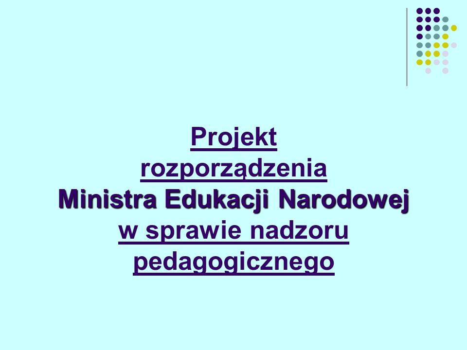 Ministra Edukacji Narodowej Projekt rozporządzenia Ministra Edukacji Narodowej w sprawie nadzoru pedagogicznego