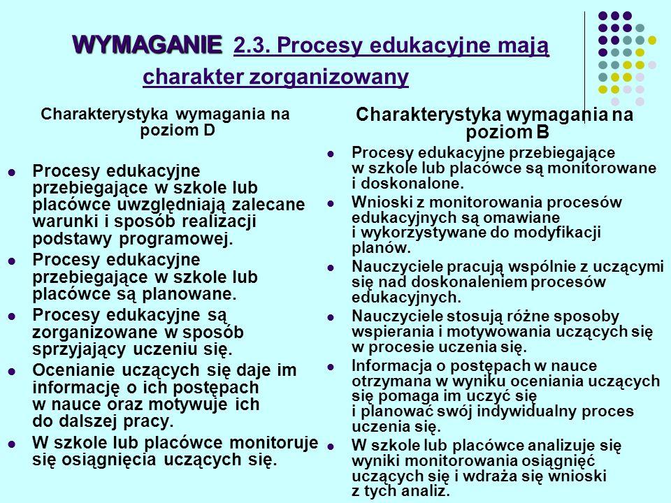 WYMAGANIE WYMAGANIE 2.3. Procesy edukacyjne mają charakter zorganizowany Charakterystyka wymagania na poziom D Procesy edukacyjne przebiegające w szko