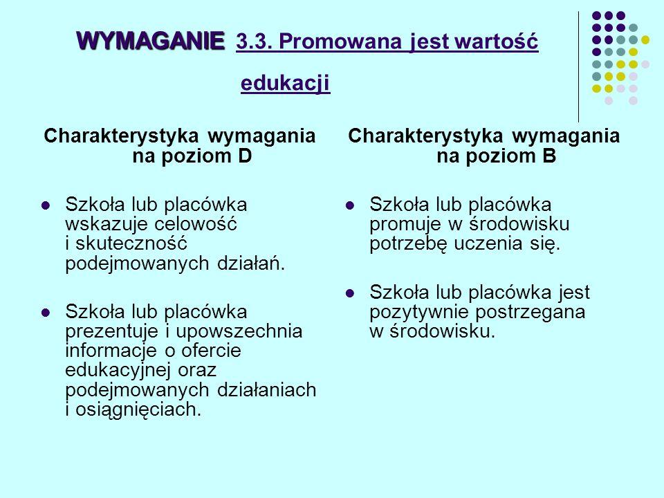 WYMAGANIE WYMAGANIE 3.3. Promowana jest wartość edukacji Charakterystyka wymagania na poziom D Szkoła lub placówka wskazuje celowość i skuteczność pod