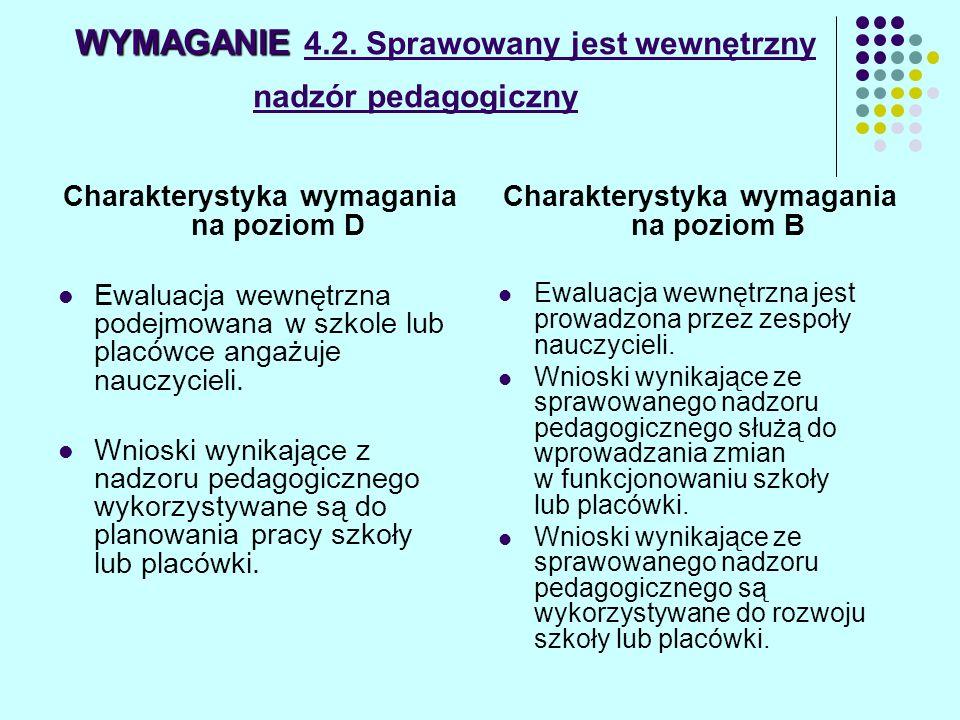 WYMAGANIE WYMAGANIE 4.2. Sprawowany jest wewnętrzny nadzór pedagogiczny Charakterystyka wymagania na poziom D Ewaluacja wewnętrzna podejmowana w szkol