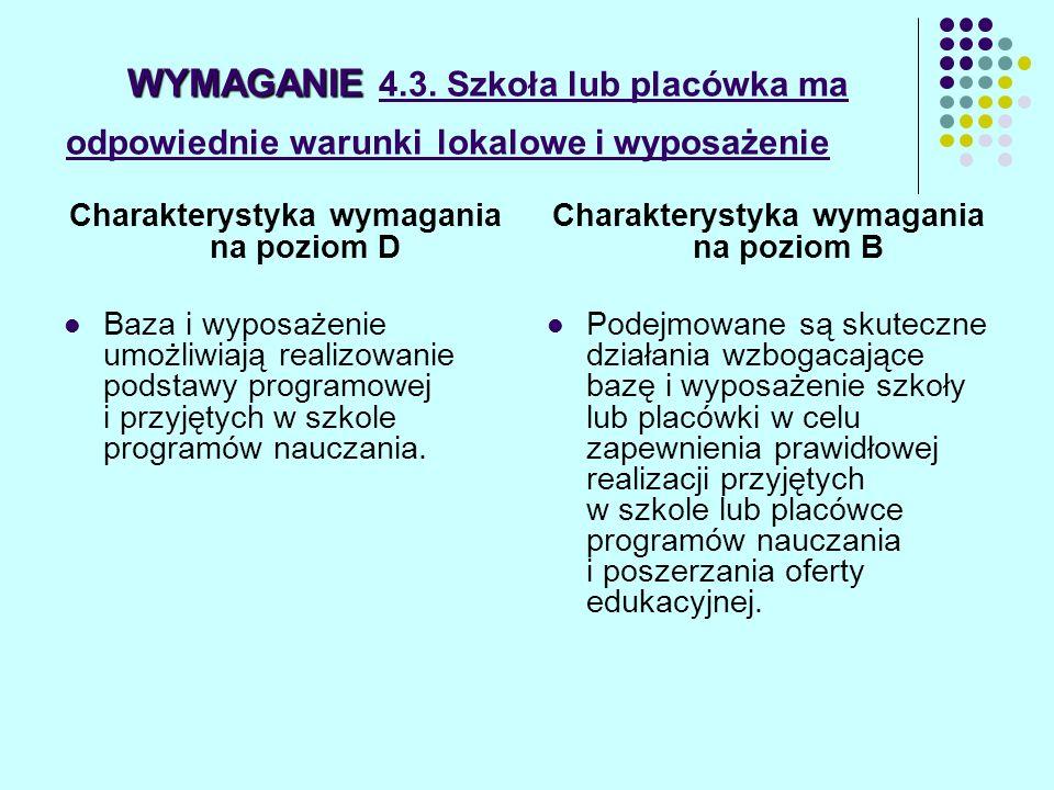 WYMAGANIE WYMAGANIE 4.3. Szkoła lub placówka ma odpowiednie warunki lokalowe i wyposażenie Charakterystyka wymagania na poziom D Baza i wyposażenie um