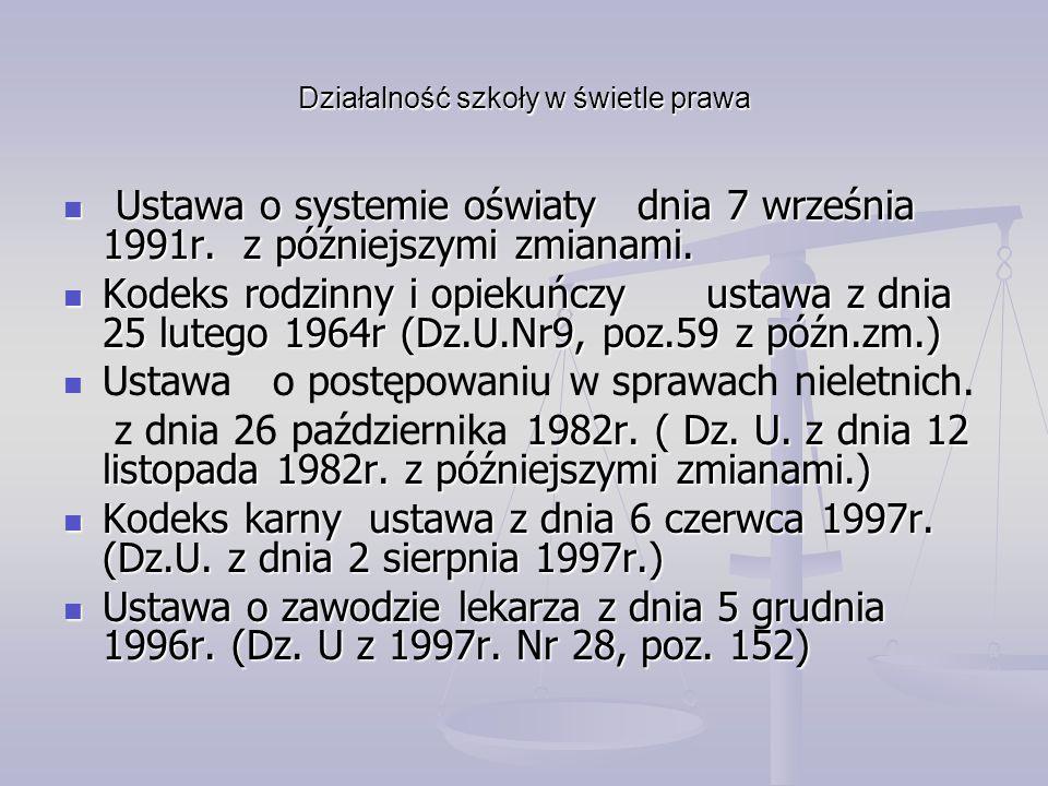 Działalność szkoły w świetle prawa Ustawa o systemie oświaty dnia 7 września 1991r. z późniejszymi zmianami. Ustawa o systemie oświaty dnia 7 września