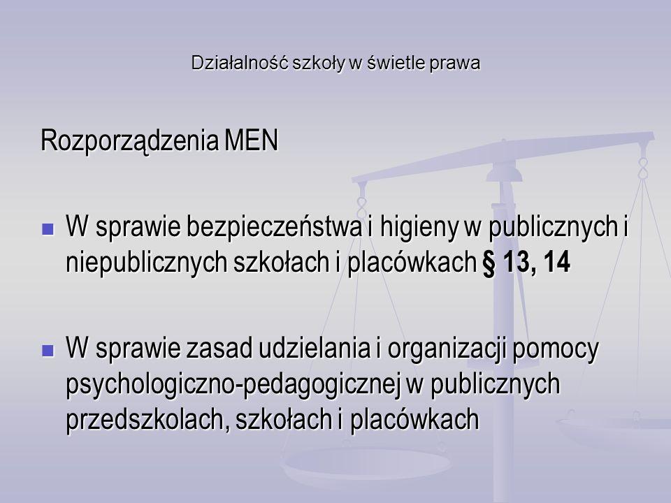 Działalność szkoły w świetle prawa Rozporządzenia MEN W sprawie bezpieczeństwa i higieny w publicznych i niepublicznych szkołach i placówkach § 13, 14