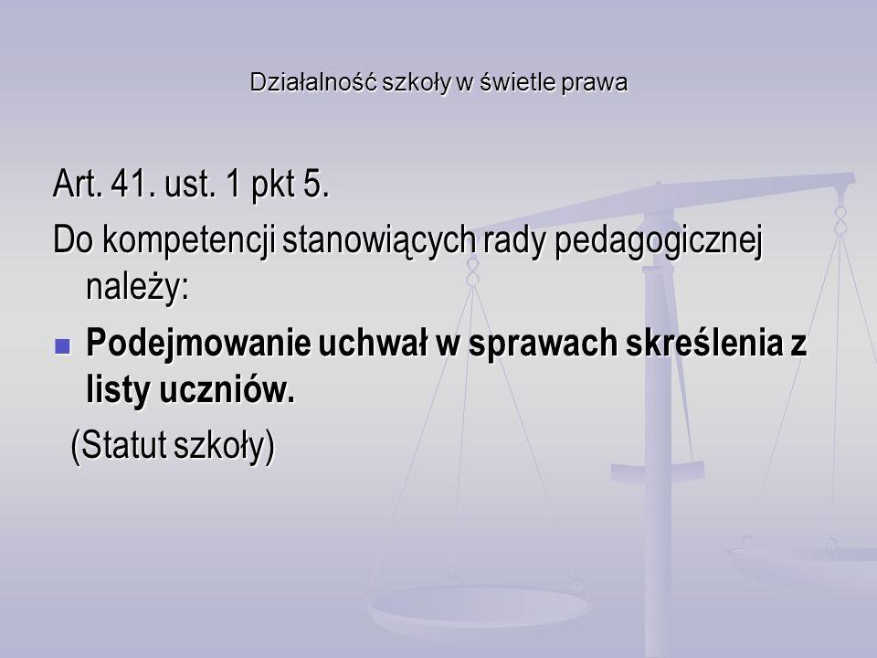 Działalność szkoły w świetle prawa Art. 41. ust. 1 pkt 5. Do kompetencji stanowiących rady pedagogicznej należy: Podejmowanie uchwał w sprawach skreśl
