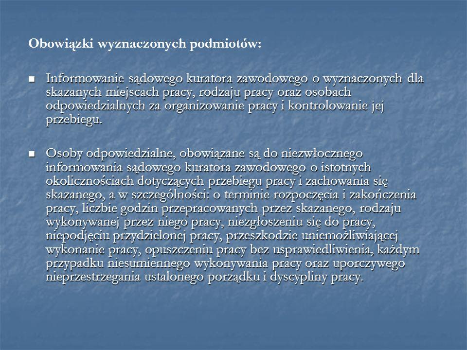 Obowiązki wyznaczonych podmiotów: Informowanie sądowego kuratora zawodowego o wyznaczonych dla skazanych miejscach pracy, rodzaju pracy oraz osobach o