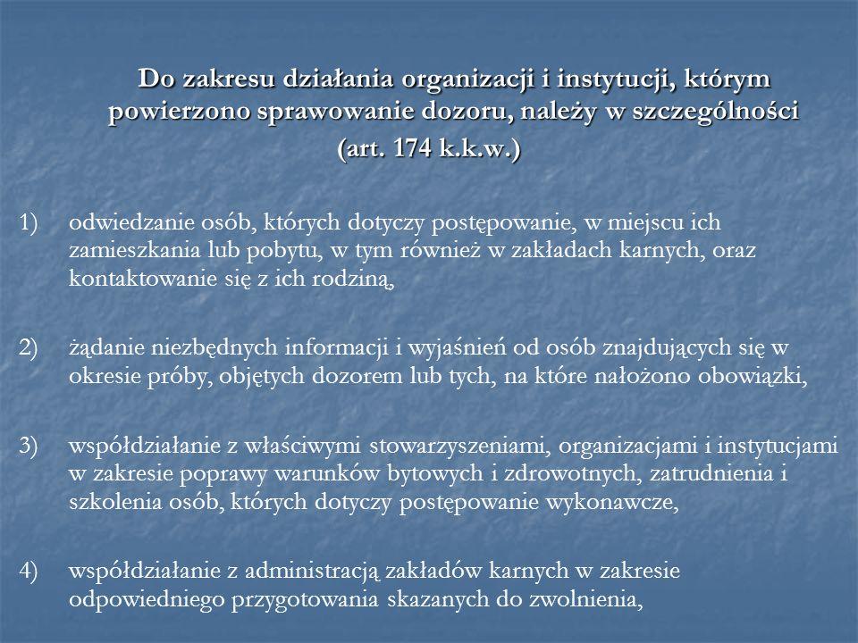 Do zakresu działania organizacji i instytucji, którym powierzono sprawowanie dozoru, należy w szczególności (art. 174 k.k.w.) 1)odwiedzanie osób, któr