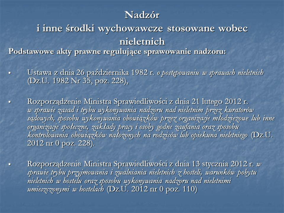 Nadzór i inne środki wychowawcze stosowane wobec nieletnich Podstawowe akty prawne regulujące sprawowanie nadzoru: Ustawa z dnia 26 października 1982