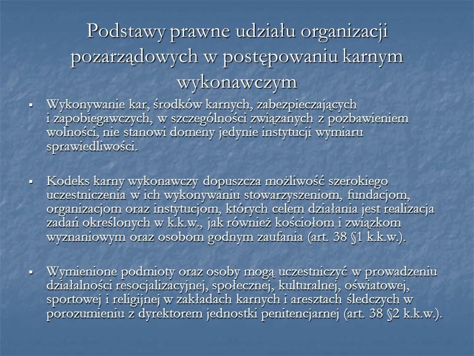 Podstawy prawne udziału organizacji pozarządowych w postępowaniu karnym wykonawczym Wykonywanie kar, środków karnych, zabezpieczających i zapobiegawcz