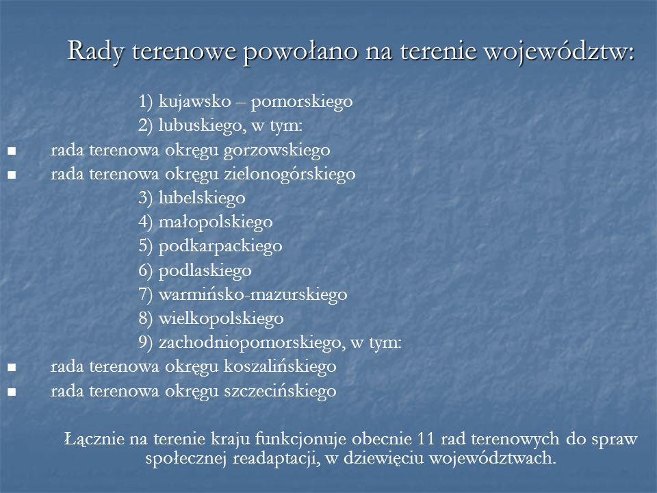 Rady terenowe powołano na terenie województw: 1) kujawsko – pomorskiego 2) lubuskiego, w tym: rada terenowa okręgu gorzowskiego rada terenowa okręgu z
