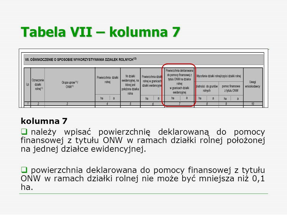 Tabela VII – kolumna 7 kolumna 7 należy wpisać powierzchnię deklarowaną do pomocy finansowej z tytułu ONW w ramach działki rolnej położonej na jednej