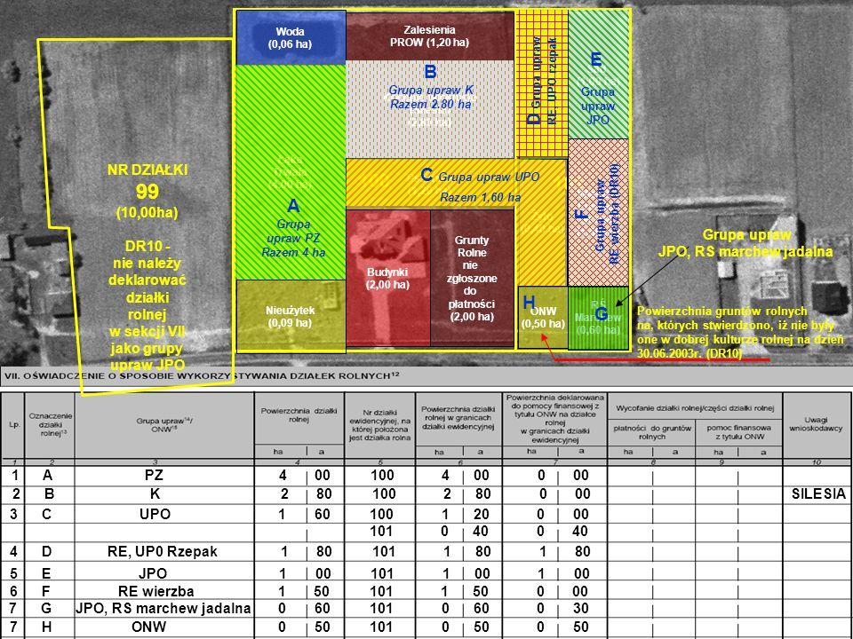 101 100 Łąka Trwała (4.00 ha) Nieużytek (0,09 ha) Woda (0,06 ha) Konopie włokniste (Silesia) (2,80 ha) Grunty Rolne nie zgłoszone do płatności (2,00 h