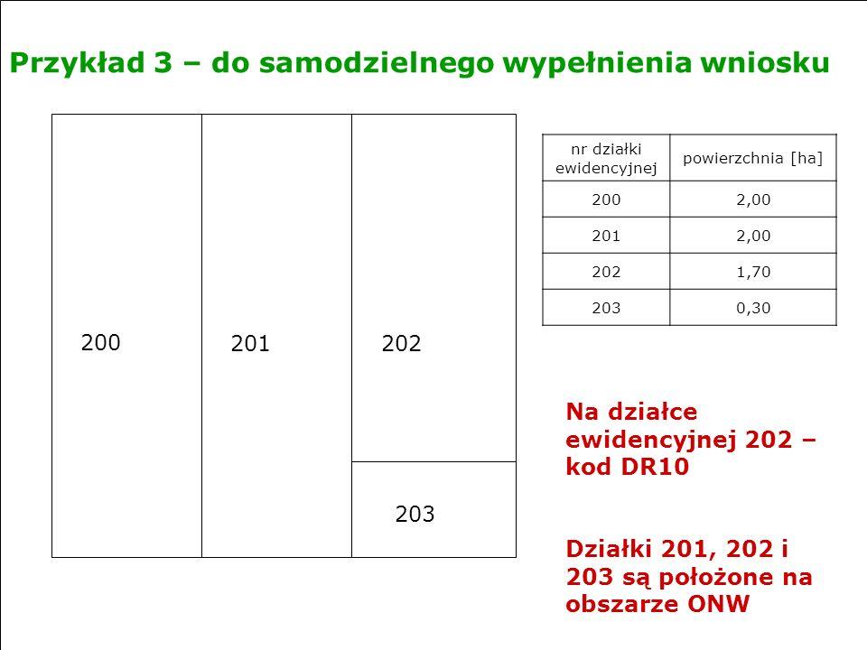 Przykład 3 – do samodzielnego wypełnienia wniosku nr działki ewidencyjnej powierzchnia [ha] 2002,00 2012,00 2021,70 2030,30 200 201202 203 Na działce