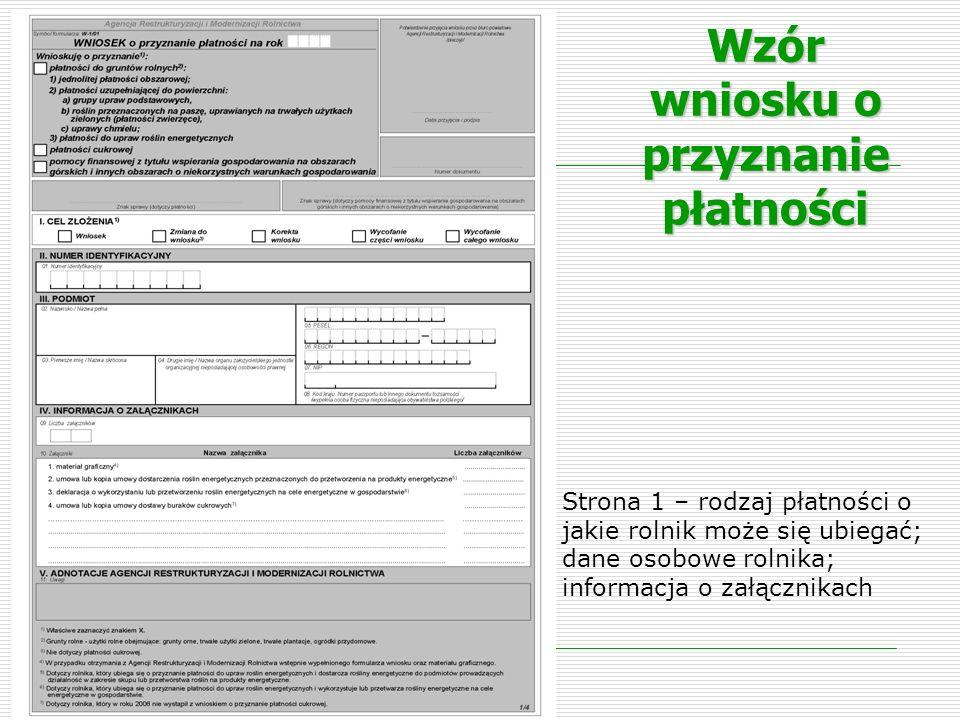 Wzór wniosku o przyznanie płatności Strona 1 – rodzaj płatności o jakie rolnik może się ubiegać; dane osobowe rolnika; informacja o załącznikach