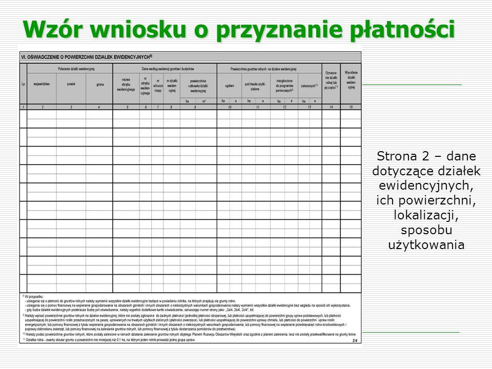 Wzór wniosku o przyznanie płatności Strona 3 – dane dotyczące działek rolnych, ich powierzchni, lokalizacji, sposobu użytkowania