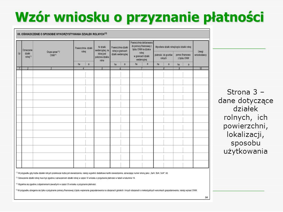 Tabela VII – kolumna 7 kolumna 7 należy wpisać powierzchnię deklarowaną do pomocy finansowej z tytułu ONW w ramach działki rolnej położonej na jednej działce ewidencyjnej.