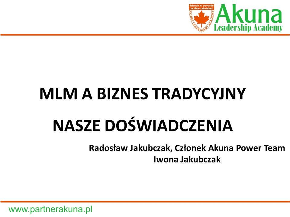 Radosław Jakubczak, Członek Akuna Power Team Iwona Jakubczak MLM A BIZNES TRADYCYJNY NASZE DOŚWIADCZENIA