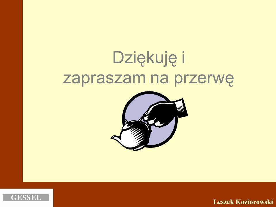 Dziękuję i zapraszam na przerwę Leszek Koziorowski