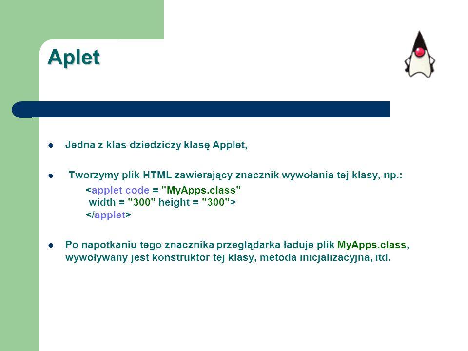 Aplet Jedna z klas dziedziczy klasę Applet, Tworzymy plik HTML zawierający znacznik wywołania tej klasy, np.: Po napotkaniu tego znacznika przeglądark