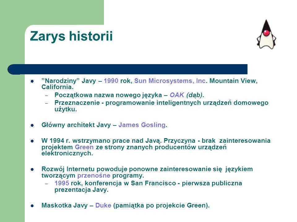 Zarys historii Narodziny Javy – 1990 rok, Sun Microsystems, Inc. Mountain View, California. – Początkowa nazwa nowego języka – OAK (dąb). – Przeznacze