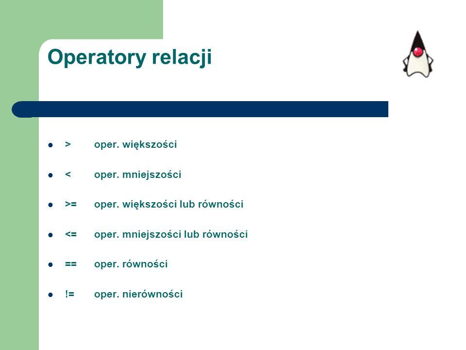 Operatory relacji >oper. większości <oper. mniejszości >=oper. większości lub równości <=oper. mniejszości lub równości ==oper. równości !=oper. nieró