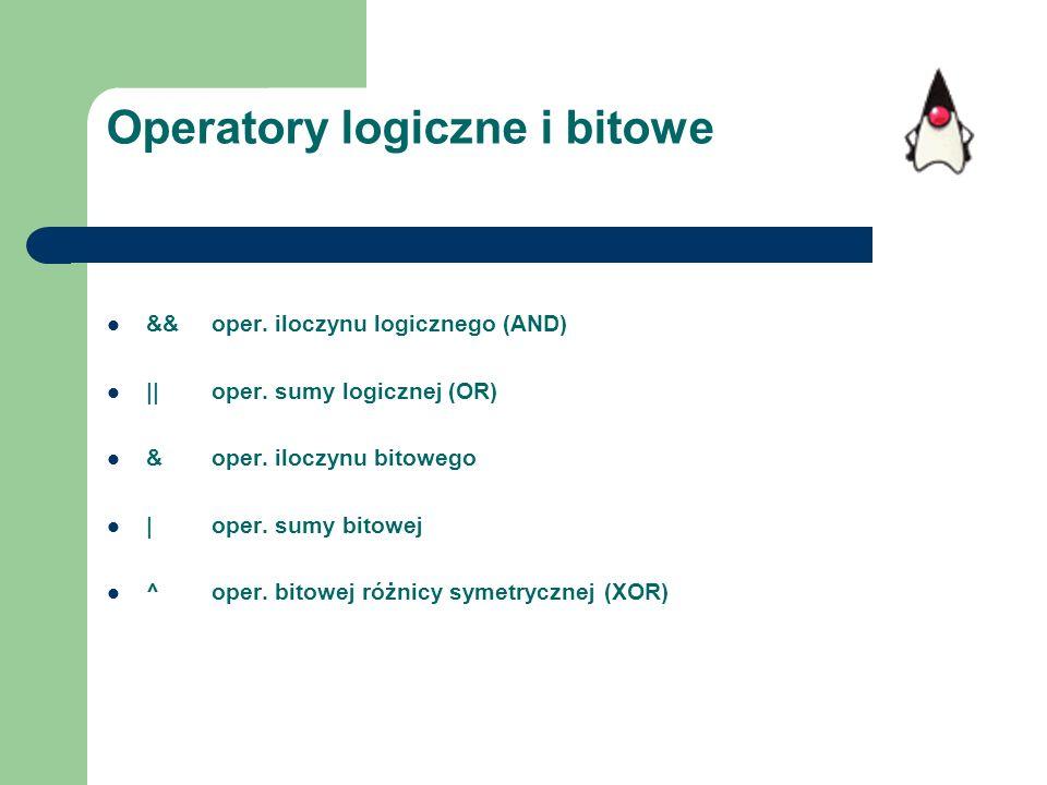 Operatory logiczne i bitowe &&oper. iloczynu logicznego (AND) ||oper. sumy logicznej (OR) &oper. iloczynu bitowego |oper. sumy bitowej ^oper. bitowej