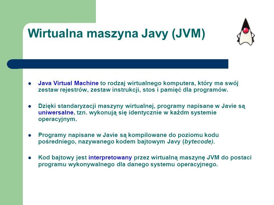 Wirtualna maszyna Javy (JVM) Java Virtual Machine to rodzaj wirtualnego komputera, który ma swój zestaw rejestrów, zestaw instrukcji, stos i pamięć dl