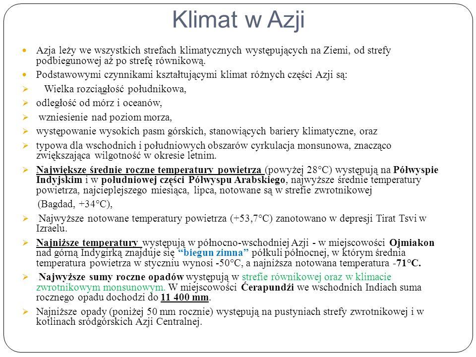 Klimat w Azji Azja leży we wszystkich strefach klimatycznych występujących na Ziemi, od strefy podbiegunowej aż po strefę równikową.
