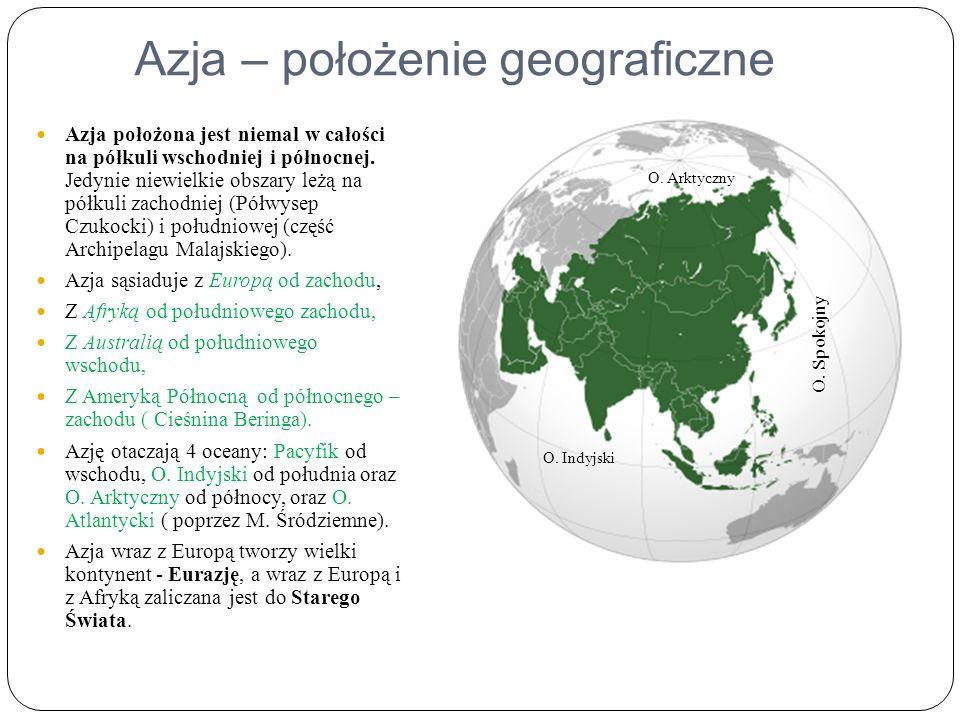Azja – położenie geograficzne Azja położona jest niemal w całości na półkuli wschodniej i północnej.