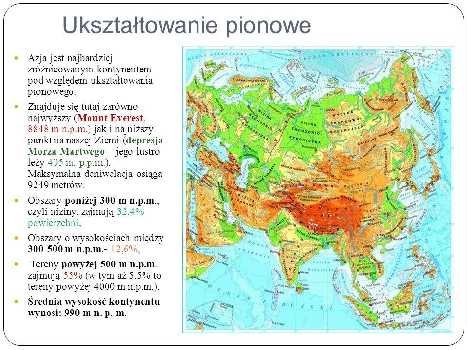 Ukształtowanie pionowe Azja jest najbardziej zróżnicowanym kontynentem pod względem ukształtowania pionowego.